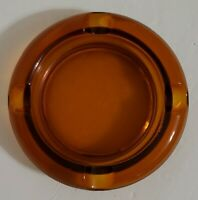 "Vintage Round Amber Ashtray Cigar Cigarette 4 Rest Spots MCM 5 7/8"" Diameter"