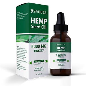 Hemp Oil 5000mg 30ml for Pain Relief, Anxiety, Good Energy, Sleep, Relax (Mint)