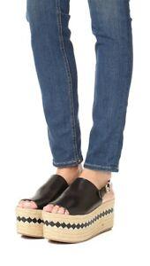 TORY BURCH $350 Black Vegan Leather Dandy Platform Espadrille Sandal Size 7