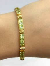 14k Solid Gold Tennis Bracelet, Natural Peridot 19TCW, August Birthstone