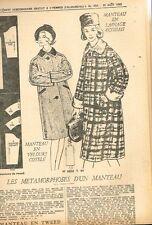 """Patron de Couture """"Femmes d'aujourd'hui"""" N°904 Manteau velours ou Tweed T 44"""
