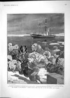 Original Old Antique Print 1904 Ship Discovery Sledge Dogs King Peter Belgrade