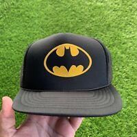 Vintage Batman Promo Trucker Hat Black 90s Logo Yellow