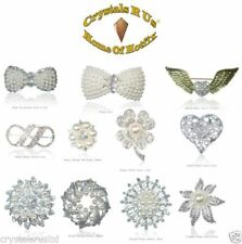 Silver Plated Flowers Crystal Costume Brooches & Pins