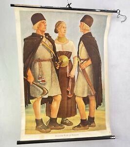 Vintage Rollbild Germanische Trachten Bronzezeit Schule Plakat Leinwand
