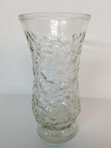 """Vase Hoosier Vintage Clear Glass Crinkle Pebble Design 8.5"""" Beautiful! 🌼🌺"""