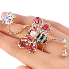 Bee Insect Pearl Cocktail Ring Stretch Pink Autrian Crystal Handmade Size 7