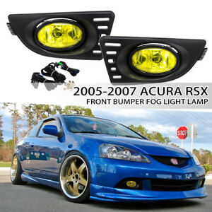 Fit 2005-2007 Acura RSX 2DR Front Yellow Lens Fog Lights Lamps w/switch wiring