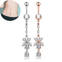 Rhinestone Body Piercing Dangle Crystal Navel Belly Button Bar Barbell Rings BH