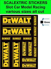 Slot car Scalextric stickers Model Race Dewalt Logo decals Various sizes all cut