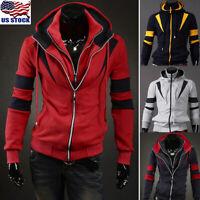 Men's Winter Hoodie Warm Hooded Sweatshirt Coat Jacket Outwear Sweater Tops US