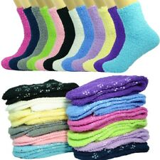 10 Pairs For Womens Non-Skid Cozy Fuzzy Socks Home Warm Solid Slipper Size 9-11