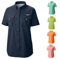 NEW COLUMBIA Women's Bahama Short Sleeve Vented Fishing Shirt UPF 30+