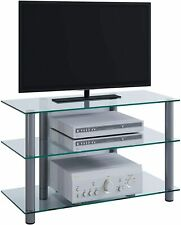 "VCM TV Hifi Furniture Unit Table Shelf Shelves Glass Brass Silver/Clear ""Sindas"""