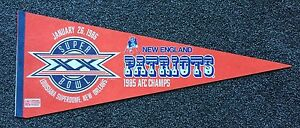 Vintage Football Pennant - New England Patriots-Super Bowl XX -1985 AFC Champs