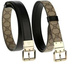 NEW GUCCI GG SUPREME & BLACK LEATHER CURRENT REVERSIBLE GOLD BUCKLE BELT 105/42