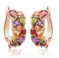 Women Lady Elegant shiny colorful Crystal Rhinestone Ear Stud Earrings Fashion