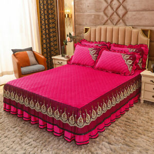 Europe Quilted Velvet Lace Bed Cover King Queen Solid Bedspread with Pillow Sham