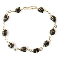 BLACK ONYX STONE GOLD COLOURED  BRACELET CHAIN BANGLE RAW UNCUT REAL GEMSTONES