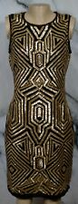VINCE CAMUTO Black Gold Deco Sequin Sheath Dress 10 Sleeveless Cocktail Party
