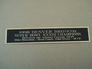 Denver Broncos Super Bowl 33 Nameplate For A Football Helmet Case Or Photo 1.5X8