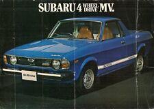 SUBARU 1600 MV 4x4 PICK-UP 1978-79 UK Opuscolo Vendite sul Mercato Opuscolo