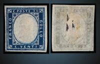 1862 ITALY SARDINIA KING VICTOR EMANUEL II 20 C.INDIGO MINT NO GUM SCOTT 12