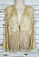Spencer Alexis Gold Lace Cardigan Jacket Sequins Burnout 12