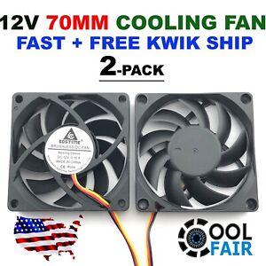 12v 70mm DC Cooling Fan 70x70x15mm 7015 Computer Case CPU 3pin 2-Pack