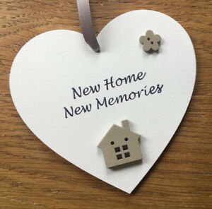 New Home Gift  House Warming Sign Moving In New Memories Wooden Heart 10cm Our