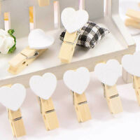 Lots 10/20Pcs Mini Heart Wooden Pegs Photo Clips Wedding Room Decor Craft 35mm