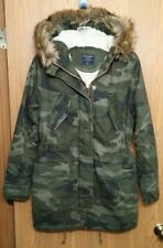 NWT Abercrombie & Fitch Womens Olive Camo Sherpa Lined Twill Parka Jacket ~ XS
