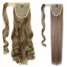 Wrap Around Mega Thick Ponytail Clip In Hair Extensions Real Fake Long Hair kc8u