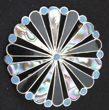 PENDENTIF & BROCHE en ARGENT MASSIF NACRE ABALONE SOLID SILVER PENDANT BROOCH