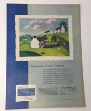 Original Print Ad 1951 DE BEERS Diamonds Wayside Honeymoon Jean Hugo Art