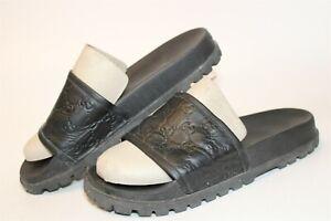 Gucci Italy Made 431070 Monogram Signature Slide Mens UK 10 US 10.5 Logo Sandals