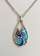 Ortak Malcolm Grey Sterling Silver Blue Enamel Swirl Necklace Pendant Surfer