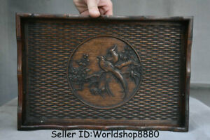 """13.6"""" Old China Huanghuali Wood Dynasty Flower Birds bamboo weaving Plate Tray"""