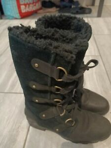 Sorel  Lace up Suede leather Lined fur Winter Black boots Shoes size  5