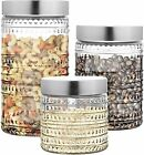 Style Setter Canister Set Decorative Glass Jars Chic Retro Floral Design with...