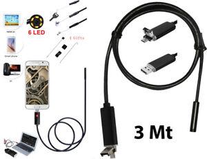 TELECAMERA ENDOSCOPICA 6 LED TUBO FLESSIBILE USB 3 MT IMPERMEABILE ISPEZIONE
