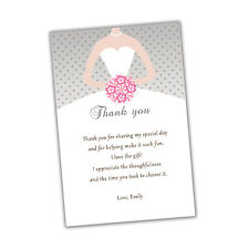 30 Bridal Shower Thank You Cards Pink Grey Dress Flowers Personalized A1