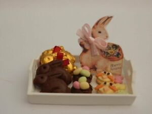 Dolls house food  Easter sweet treats tray of cakes & chocolates -By Fran