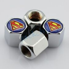 Silver Wheel Tire Tyre Valve Air Cap Hat Decoration Accessories Superman Styling