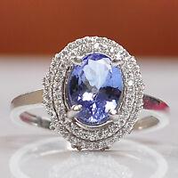 1,80Kt 585er Weiß Gold Natürlich Tansanit & EGL Zertifiziert Diamant Ring