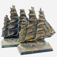 "Antique Pair Bronze Nautical Sailing Ship Boat Bookends 5 6/8""H 6""L 2""W"