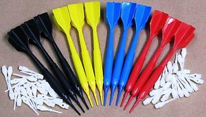 Soft Tip Darts  4 SETS!  ~ 1-Piece ~ 12 Darts ~ with 50 spare tips Mixed Colors