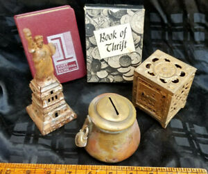Lot of 4 Vintage Cast Iron, Brass & Other Banks