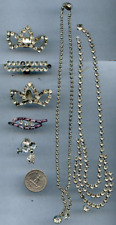 Vintage Clear Rhinestone Jewelry 2 Necklace Earring Shoe Clip PC53