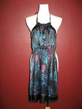 DKNY Jeans donna karan XS black blue teal purple floral halter dress